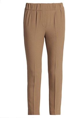 Brunello Cucinelli Stretch-Silk Crepe Pull-On Pants