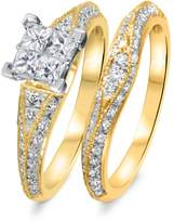 My Trio Rings 1 3/8 CT. T.W. Diamond Women's Bridal Wedding Ring Set 14K Yellow Gold