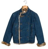 Bonpoint Girls' Denim And Fur Jacket