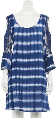 Nina Leonard Women's Print Cold-Shoulder Crochet Swing Dress