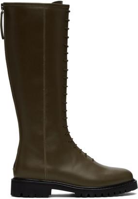 LEGRES Khaki Tall Combat Boots
