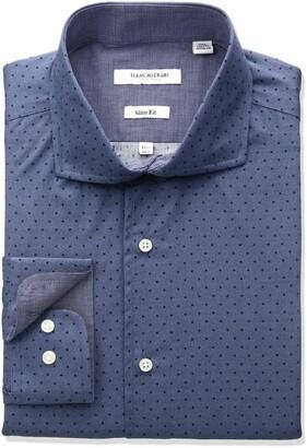 Isaac Mizrahi Men's Slim Fit Broadcloth Printed Dot Cut Away Collar Dress Shirt