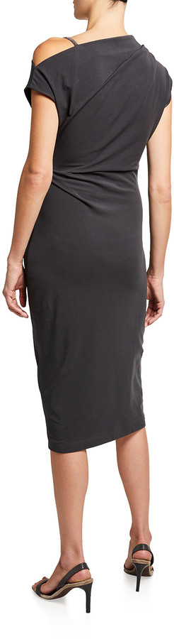 Thumbnail for your product : Brunello Cucinelli Stretch Jersey One-Shoulder Sheath Dress