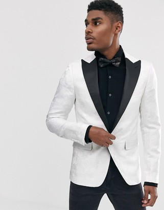 Devils Advocate skinny fit white lace overlay satin lapel dinner jacket