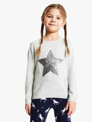 John Lewis & Partners Girls' Sequin Star Jumper, Charcoal