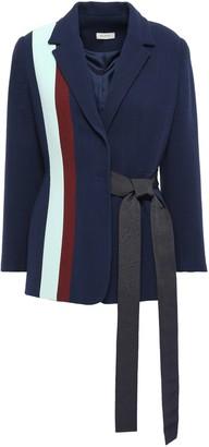 DELPOZO Grosgrain-trimmed Striped Wool-crepe Wrap Blazer