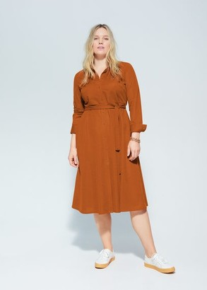 MANGO Violeta BY Belt shirt dress khaki - 10 - Plus sizes