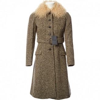 Miu Miu Beige Tweed Coat for Women