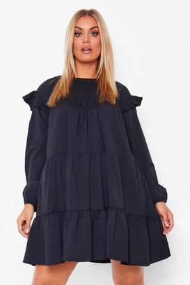 boohoo Plus Long Sleeve Tiered Ruffle Smock Dress