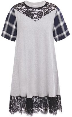 McQ Chantilly Lace-trimmed Checked And Jersey Mini Dress