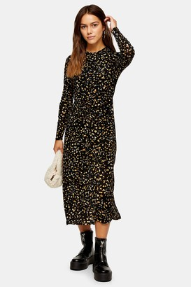 Topshop Womens Petite Print Ruched Front Midi Dress - Multi