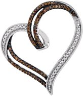 Saris and Things Sterling Silver Womens Round Cognac- Colored Diamond Heart Pendant 1/5 Cttw