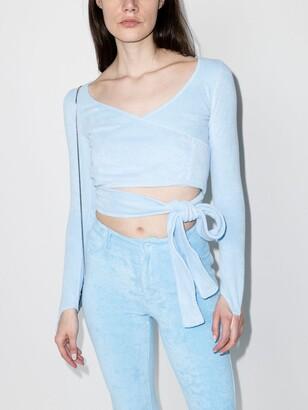 MAISIE WILEN Blue Dramady Wrap Crop Top