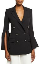 Prabal Gurung Bell-Sleeve Double-Breasted Jacket, Black