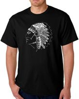 Men's Word Art Native American Tribes T-Shirt in Black