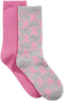 Charter Club Women's 2-Pk. Pink Ribbon Socks, Only at Macy's