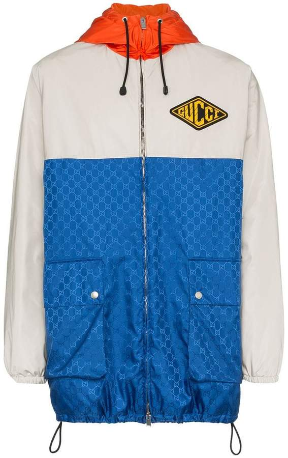 Gucci gg jacquard logo hooded jacket