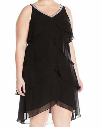 SL Fashions Women's Size Sleeveless Beaded Vneck Chiffon Tier Dress Plus