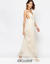 Vila Plunge Front Grecian Maxi Dress
