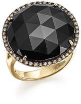 Bloomingdale's Onyx Statement Ring with White and Brown Diamonds in 14K Yellow Gold