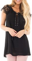 ACHICGIRL Women's Lace Sleeves Lace up Tunic Top, XL