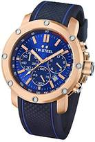 TW Steel Men's Quartz Watch with Blue Dial Chronograph Display and Blue Silicone Strap TS3