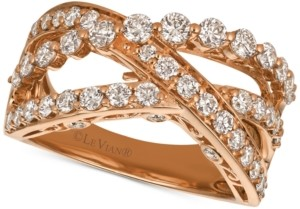 LeVian Le Vian Strawberry & Nude Diamond Crisscross Ring (1-1/3 ct. t.w.) in 14k Gold or Rose Gold