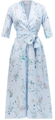 Luisa Beccaria Floral-print Cotton-blend Dress - Womens - Blue Multi
