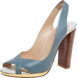 Christian Louboutin Teal Blue Leather Criss Cross Slingback Peep Toe Sandals Size 38