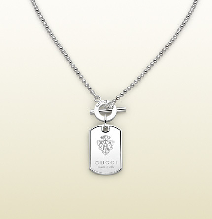 Gucci Dog Tag Necklace With Engraved Crest.