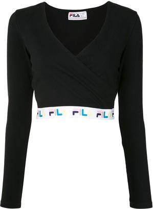 Fila deep V-neck logo tape T-shirt