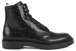 HUGO BOSS Lace Up Boots In Leather With Shearling Lining - Black