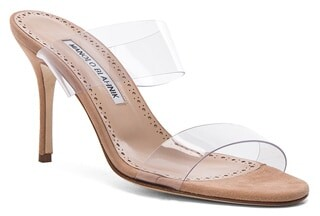 Thumbnail for your product : Manolo Blahnik PVC Scolto Sandals in Nude