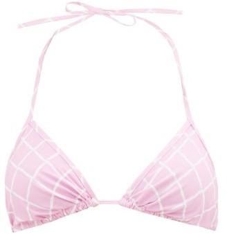 Fisch Dinzey Fishnet-print Self-tie Bikini Top - Light Pink