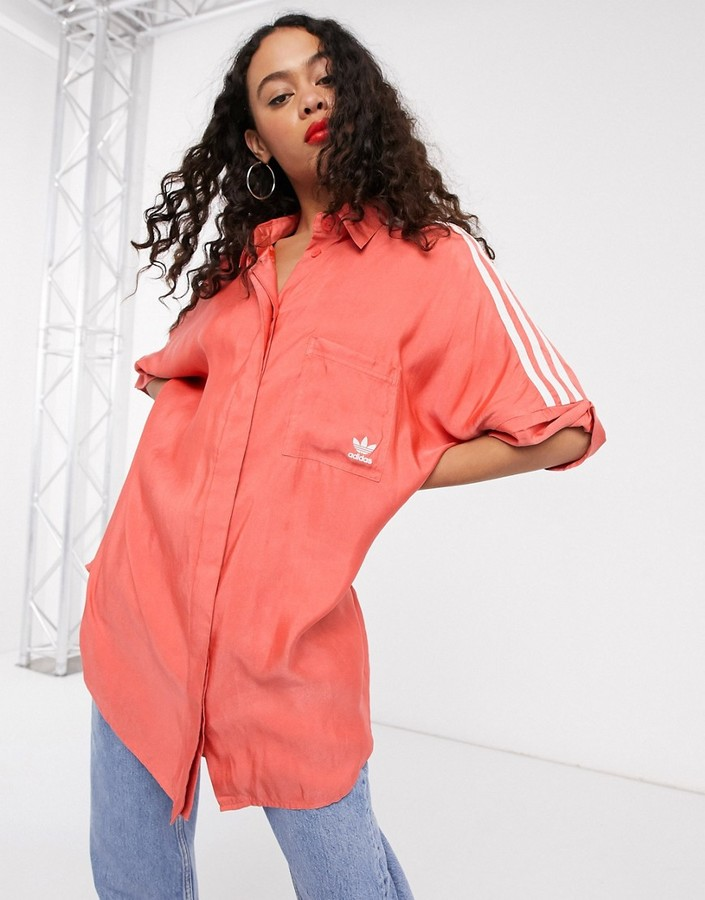 adidas adicolor short sleeve satin look button up shirt in red