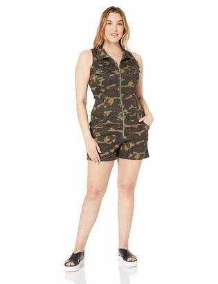 CG JEANS Womens Plus Size Cute Romper Denim Club Shorts Sleeveless Zip up Juniors Fit