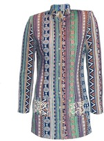 Womens Long Jacket With Pearl Embroidery Green