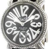 GaGa MILANO Stainless Steel & Leather wDiamond Manual 48mm Mens Watch