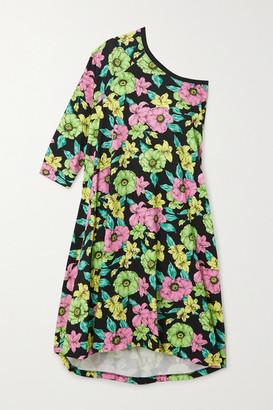 Balenciaga One-sleeve Floral-print Cotton-jersey Midi Dress - Black