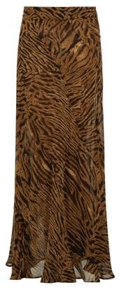 Ganni Tiger-print Crepe Maxi Skirt - Womens - Brown Multi