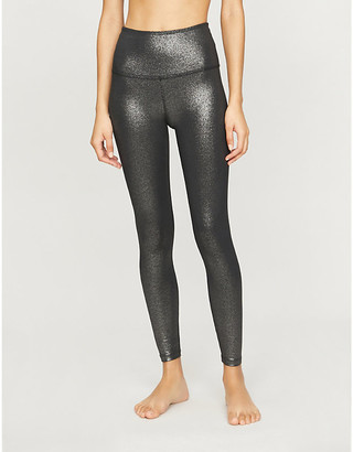 Beyond Yoga Twinkle high-rise metallic stretch-jersey leggings