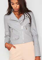 Missy Empire Sydney Grey Faux Leather Biker Jacket