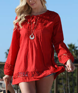 Ananda's Collection Women's Tunics RED - Red Lace-Up Long-Sleeve Tunic - Women
