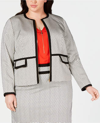 Calvin Klein Plus Size Piped-Trim Zip-Front Jacket