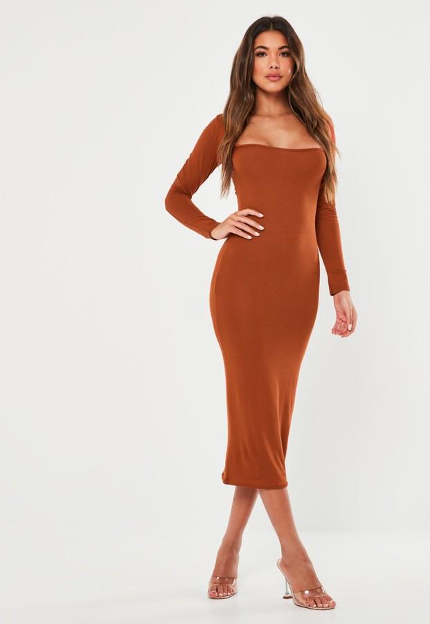 Missguided Rust Square Neck Long Sleeve Midi Dress