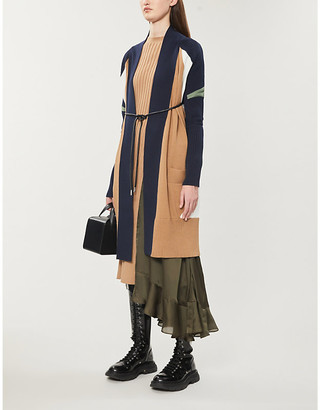 Sacai Colour-block cotton-blend knitted cardigan