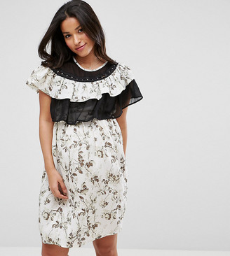 Asos Floral mini dress with Ruffles and Hook and Eye Trim