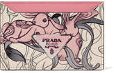Prada Printed Textured-leather Cardholder - Pink