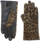 Adrienne Vittadini Women's Leopard Faux Calfskin and Leather Gloves