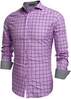 Coofandy Men's Fashion Long Sleeve Plaid Button Down Casual Shirts
